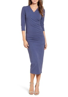 Michael Stars Ruched Surplice Stretch Cotton Body-Con Dress (Regular & Petite)