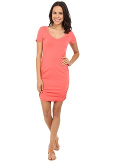 Michael Stars Short Sleeve V-Neck Rouched Mini Dress