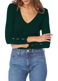 Michael Stars Sleeve Cutout Ribbed Top