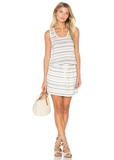 Michael Stars Stripe Linen Knit Drawstring Tank Dress