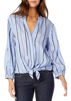 Michael Stars Stripe Shirting Tie Front Cotton Blouse