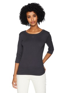 Michael Stars Women's 1x1 Cotton 3/4 Sleeve Band Crew tee