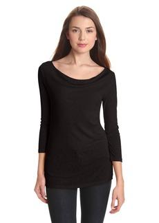 Michael Stars Women's 1x1 Slub 3/4 Sleeve Drape Neck Tee Shirt  One Size
