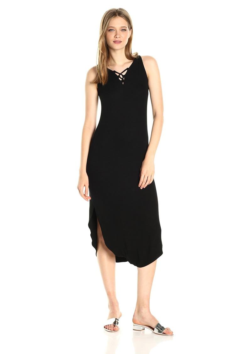 Michael Stars Women's 2x1 Rib Front to Back Lace Up Midi Dress  L