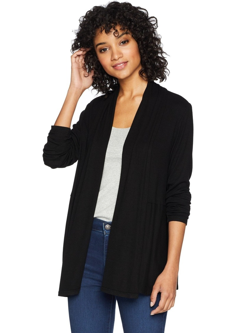 Michael Stars Women's 2x1 Rib Long Sleeve Cardigan