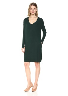 Michael Stars Women's 2x1 Rib Long Sleeve Soft V-Neck Dress with Pockets  L