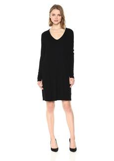 Michael Stars Women's 2x1 Rib Long Sleeve Soft V-Neck Dress with Pockets  XS