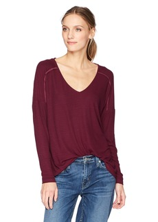 Michael Stars Women's 2x1 Rib Long Sleeve V-Neck with Back Lace-up Top  O/S