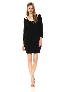 Michael Stars Women's 3/4 Sleeve Slit Shoulder V-Neck Dress  L