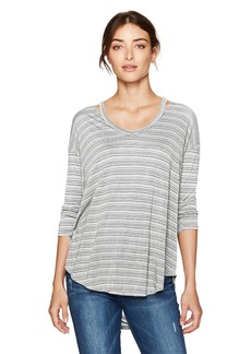 Michael Stars Women's 3/4 Sleeve V-Neck Tee with Split Shoulder