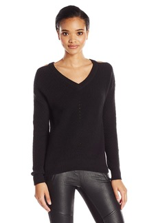 Michael Stars Women's Alpine Knit Vee Neck Cold Shoulder Sweater  S