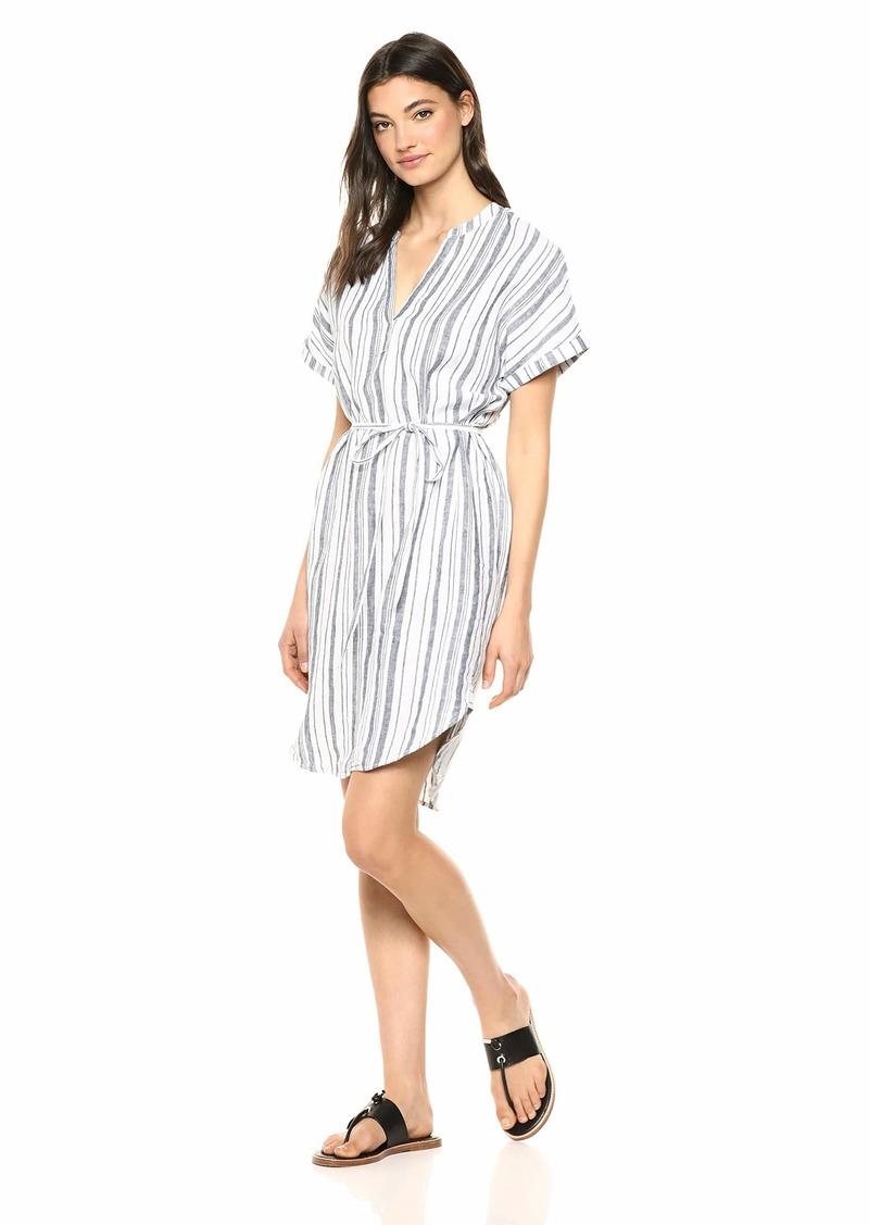 Michael Stars Women's Amelee Beach Stripe Linen Caftan Dress Admiral/White