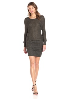 Michael Stars Women's Boatneck Dress With Shirring  L