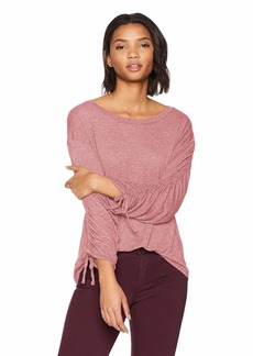 Michael Stars Women's Brooklyn Jersey Long Sleeve Open Neck top rosehips