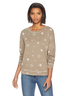 Michael Stars Women's Burnout Star Terry Long Sleeve Crew Neck Pullover camo S
