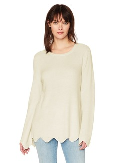 Michael Stars Women's Cashmere Blend Long Sleeve Crew Neck with Scalloped Hem  S