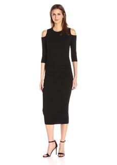 Michael Stars Women's Cold Shoulder Midi Dress with Shirring  L