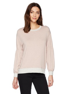 Michael Stars Women's Color Block Elevated French Terry Gathered Sleeve Sweatshirt  L