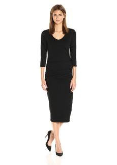 Michael Stars Women's Cotton Lycra 3/4 Sleeve Ruched Midi Dress  L