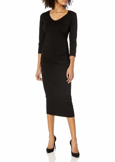 Michael Stars Women's Cotton Lycra 3/4 Sleeve Ruched Midi Dress  XS