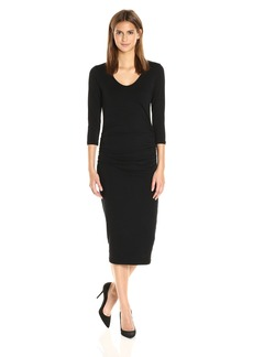 Michael Stars Women's Cotton Lycra 3/4 Sleeve Ruched Midi Dress  M