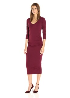 Michael Stars Women's Cotton Lycra 3/4 Sleeve Ruched Midi Dress  S