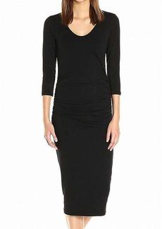 Michael Stars Women's Cotton Lycra 3/4 Sleeve Ruched Midi Dress  XS