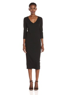 Michael Stars Women's Cotton Lycra 3/4 Sleeve Vee Neck Midi Dress  XS