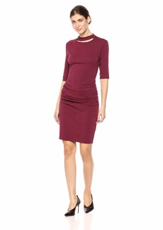 Michael Stars Women's Cotton Lycra Elbow Sleeve Slashed Mock Neck Dress