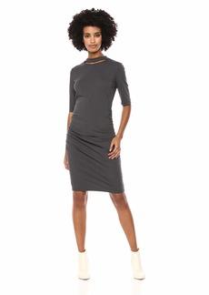 Michael Stars Women's Cotton Lycra Elbow Sleeve Slashed Mock Neck Dress  Extra Small