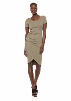 Michael Stars Women's Cotton Lycra Kimber Short Sleeve Scoop Neck Dress  Extra Small