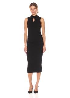 Michael Stars Women's Cotton Lycra Mock Neck Sleeveless Dress  M