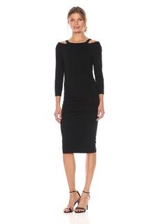 Michael Stars Women's Cotton Lycra Round Neck Dress with Slashed Shoulders  S