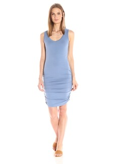Michael Stars Women's Cotton Lycra Scoop Neck Tank Dress With Shirring  L