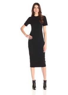 Michael Stars Women's Cotton Lycra Short Sleeve Crew Neck Midi Dress