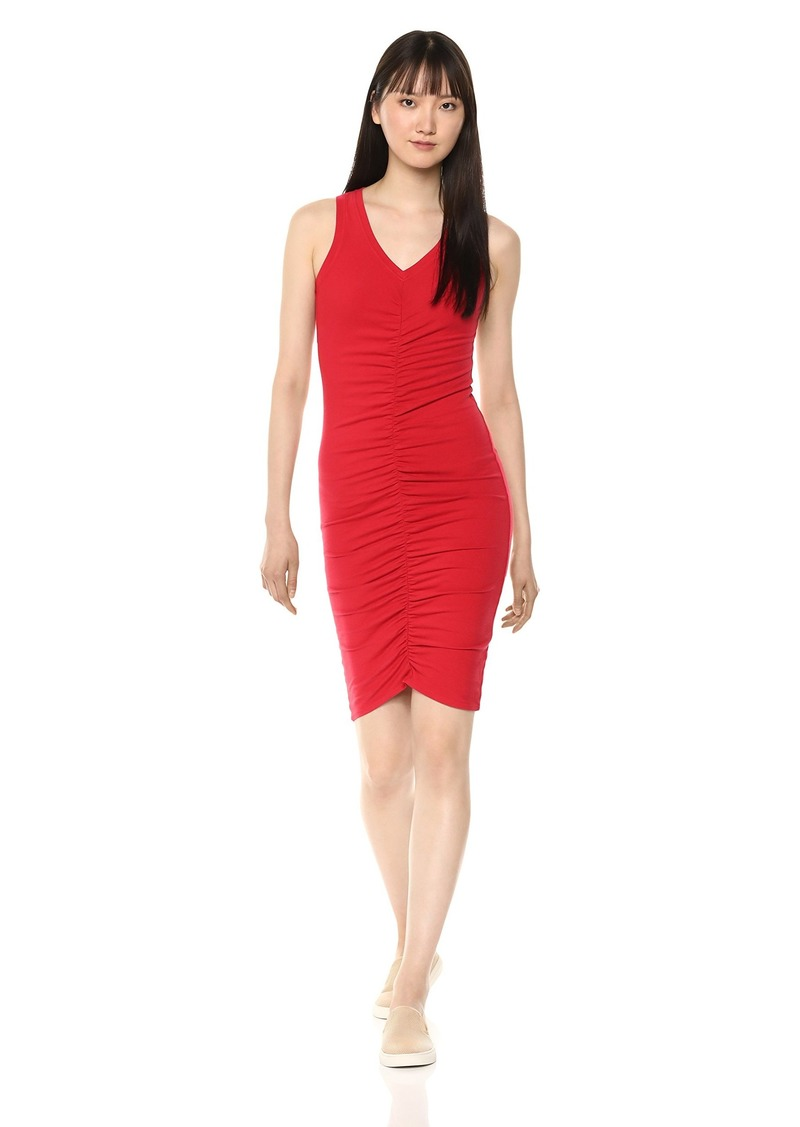 Michael Stars Women's Cotton Lycra Sleeveless v-Neck Dress with Ruching  Extra Small