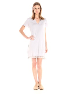Michael Stars Women's Cotton Modal Notched Neck Tee Dress with Fringe  L