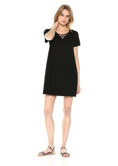 Michael Stars Women's Cotton Modal Short Sleeve Lace-up v-Neck Dress  L