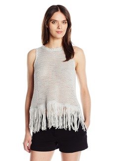Michael Stars Women's Cotton Slub Split Back Tank with Fringe  L