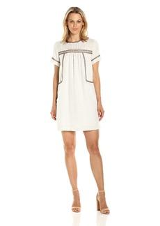 Michael Stars Women's Dobby Stripe Peasant Dress with Beading Detail Ivory M
