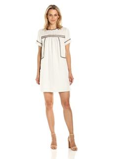 Michael Stars Women's Dobby Stripe Peasant Dress With Beading Detail  M