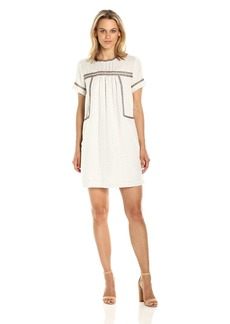 Michael Stars Women's Dobby Stripe Peasant Dress with Beading Detail  S