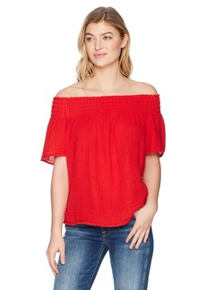 Michael Stars Women's Double Gauze Short Sleeve Smocked Top  L