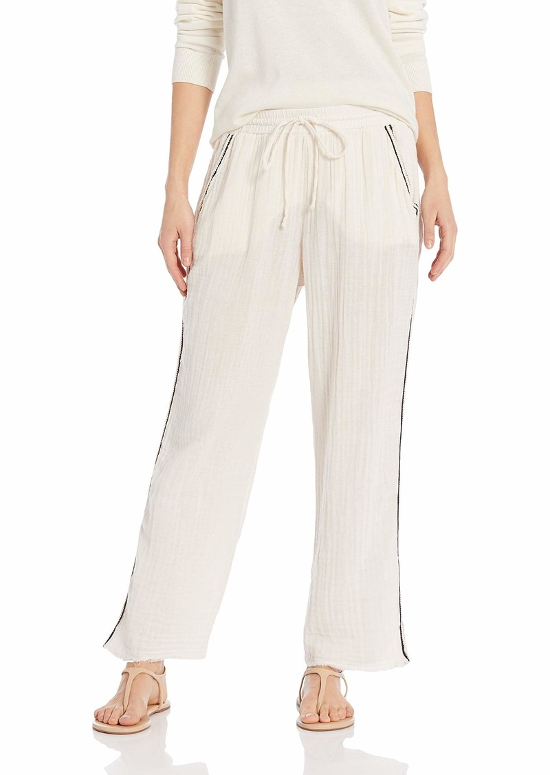 Michael Stars Women's Double Gauze with Trim Raw Hem Tapered Pant  Extra Small