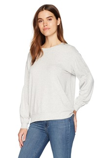 Michael Stars Women's Elevated French Terry Gathered Sleeve Sweatshirt  L
