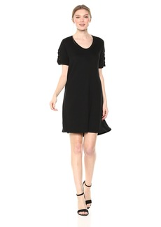 Michael Stars Women's Elevated French Terry Lace up Sleeve Dress  XS