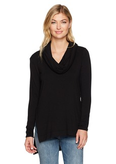 Michael Stars Women's Elevated French Terry Long Sleeve Cowl Hood Hi-Low Tunic  S