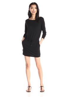 Michael Stars Women's Elevated French Terry Long Sleeve Off Shoulder Dress