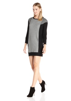 Michael Stars Women's Elevated French Terry Mix Long Sleeve Crew Neck Dress