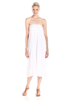 Michael Stars Women's Embroidered Gauze Convertible Maxi Skirt Midi Dress White